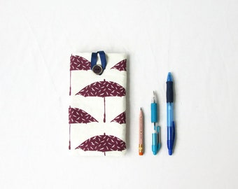 Iphone 7 plus case, hand printed fabric, handmade in the UK
