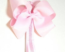 Pink Hair Bow Holder and Headband Holder with Attached Clips to Organize All Bows Including Cheer Bows