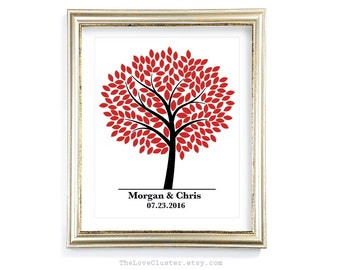 Wedding Tree Guestbook Print / 16x20 / 180 Guests / Signature Guest Book Alternative / Guest Book Poster / Personalized Fall Wedding Print