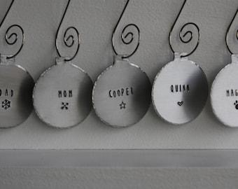 SET of Stocking Tags, Set of Christmas Ornaments, Stocking Name Tags Set, Personalized Ornaments