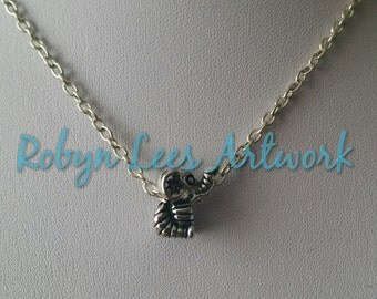 Tiny Silver Cute Elephant Bead Charm Necklace on Silver Crossed Chain, Black Faux Suede Cord or Dark Brown Faux Leather Braided Cord