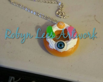 Horror Doughnut Donut Necklace with Doughnut Pendant with Kawaii Whipped Cream, Blue Eyeball, Jellybeans and Candy Sweets