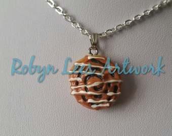 Small Cinnamon Bun Roll Pastry with Icing Necklace on Silver Crossed Chain or Black Faux Suede Cord