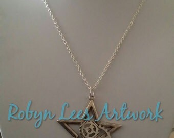 Large Silver Star Necklace with Cogs and Gears, the Brains of the Night, on Silver Chain