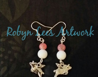 Flying Pig Silver Earrings with Mottled Marble Effect Pink Beads and White Beads