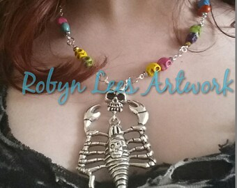 Silver Skeleton Scorpion Necklace With Hand Painted Turquoise Skull Beads