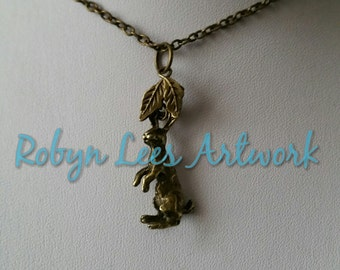 Bronze 3D Gazing Hare Rabbit & Leaves Necklace on Bronze Crossed Chain, Black Faux Suede or Dark Brown Faux Leather Braided Cord, Wiccan