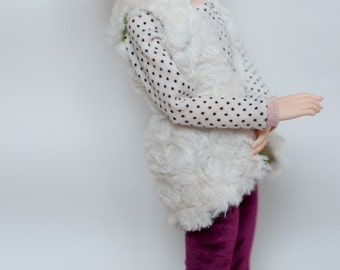 MNF minifee - Fur vest clothes outfit for slim msd bjd dolls and narae, mydolling etc.