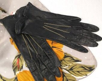 Bamco Ladies Gloves Vintage Italian Black Leather Kidskin Size 6.5
