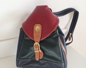 Vintage LeatherAlfred Sung Baby Backpack // Multi-Coloured Leather Backpack Bag Tote Alfred Sung 90s