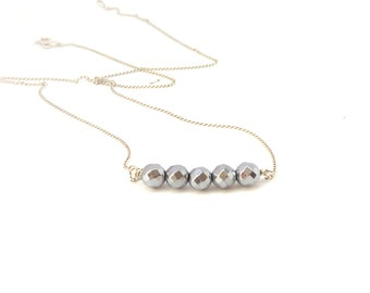 Hematite necklace ~ Bar necklace ~ Silver necklace ~ Dainty necklace ~ Hematite jewelry ~Beaded necklace ~Sterling silver ~Mother's Day gift