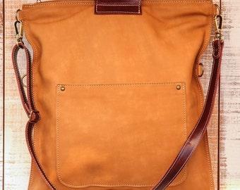 Leather laptop tote, caramel leather bag, school leather tote, camel brown tote, foldover bag purse, mac bag, laptop bag, business tote bag