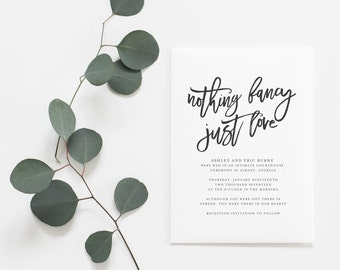 Nothing Fancy, Just Love Announcement Card - Elopement Announcement Card - Marriage Announcement Card - Wedding Announcement Card | WA-005