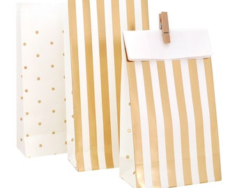 Gold Party Favor Bags Gold Gift Bag Treat bags Birthday Party Favors Goodie bags Gold Baby Shower Favors Bag metallic gold thank you gift