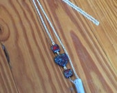 Deer Antler Chain Necklace with Czech Triangle and Square Beads