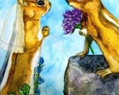 Wedding Chipmunks from Original Watercolor Painting as Blank Greeting Card or Art Print