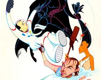Kevin Costner, Tom Hanks, Batman Val Kilmer and Pocahontas original acrylic painting by Disney Artist Dave Woodman