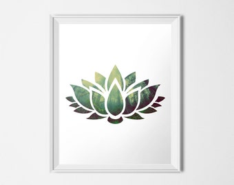 Lotus Flower Print, Forest INSTANT DOWNLOAD, 16x20 Poster Yoga Printable, Zen Art, Landscape Print Tree Print, Buddhist Print, Hindu Print