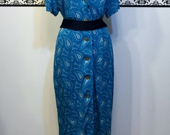 1960's Electric Blue Paisley Hipster Dress by Mary Roberts, Size 16 18 XL, Vintage 1960's Paisley Grunge Dress,  Plus Size 60's Mod Dress