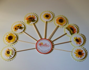 9 Sunflower Cupcake Toppers