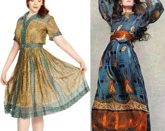 SALE Vintage Henry Lee 1950s Paisley Turquoise and Gold Cotton Lawn Dress