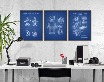 Lego Patent Prints Set of 3 - Lego Wall Art Poster Set - Lego Bedroom Art Poster - Boys Bedroom Decor - Lego Gift Idea