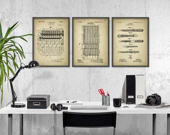 Accountant Patent Print Set Of 3 - Accountancy Poster - Office Wall Art - General Ledger -Adding Machine - Fountain Pen Office Decor SKU1001