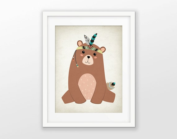 Tribal bear nursery print tribal nursery animal print for Animal themed bathroom decor