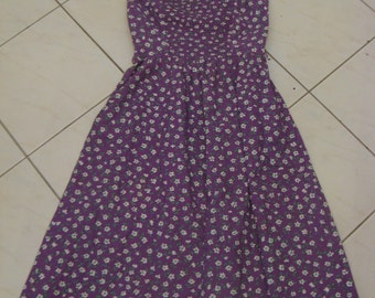 Vintage 60s 70s Purple Floral LANZ Cotton Dress Pockets Sz S Aus 8 10 US 4 6