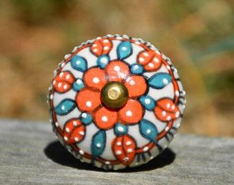 Ceramic knob/flower knob/orange knob/cabinet knob/door handle/drawer pull/decorative/furniture hardware/beautiful/unique/cute/painted/teal