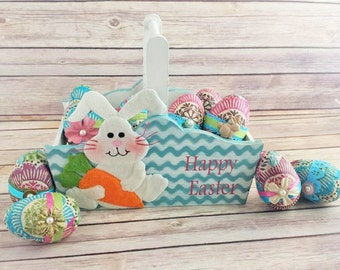 Easter Basket with Eggs, turquoise chevron Up Cycled Eco Friendly