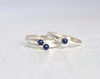 Sapphire Ring.  Sterling Silver Sapphire Ring.  Birthstone Ring.