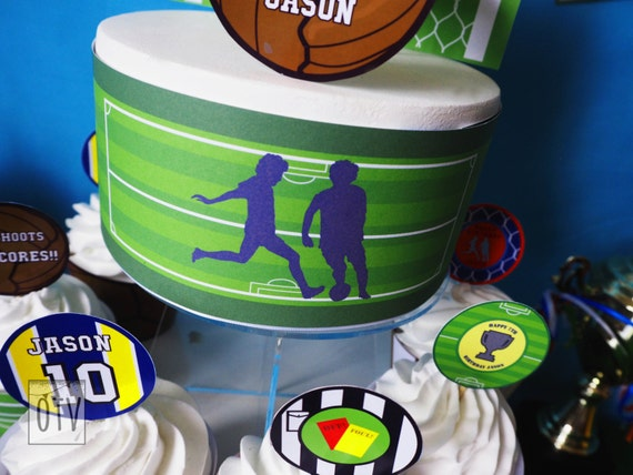 FOOTBALL - Soccer - Children's - Boys - Birthday - CAKE Wrap - Pitch - Green - PRINTABLE - Pdf - Digital File - Instant Download