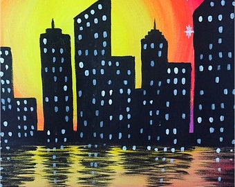 City Skyline Acrylic painting- Manhattan/Chicago
