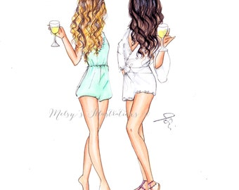Rompers and Wine (Fashion Illustration Print)