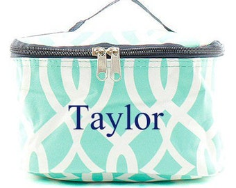 Monogrammed Cosmetic Bag  Mint and White Trellis Cosmetic Bag  Monogrammed Makeup Bag