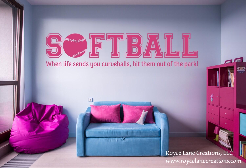 Softball Bedroom When Life Hands You Curveballs Softball Quotes Softball Wall Decal