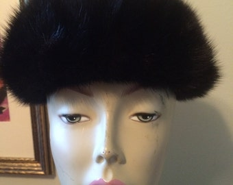 1960s Black Mink Halo Hat Small