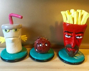 Aqua Teen Hunger Force Master Shake Meatwad and Frylok Inspired Sculpture Set
