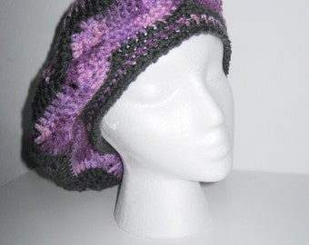purple and grey star hat, crochet hat , tam , slouchy , beret , variegated purple , chevron  hat