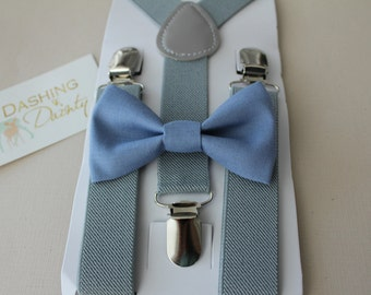 Bow Tie & Suspender Set, Blue Bow Tie, Gray Suspenders, Boys Clip On Bow Tie, Boys Suspenders, Toddler Bow Tie, Toddler Suspenders, Wedding