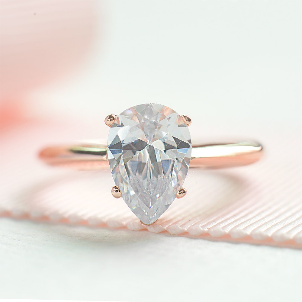 Pear cut engagement ring teardrop proposed ring rose gold for Wedding band for teardrop engagement ring