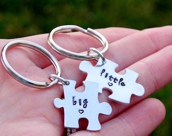 Big Little Hand Stamped Keychain Set Big Little Sorority Big Little Gift Big Little Keychain Big Little Reveal