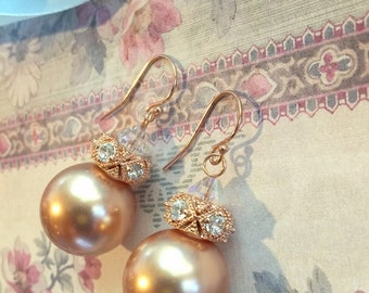 Bridal 14K Rose Gold Filled Pearl Earrings,High Fashion AAA Swarovski Rose Gold Pearls,Crystals,Wedding Jewelry,Earring Backs,Ready to Ship