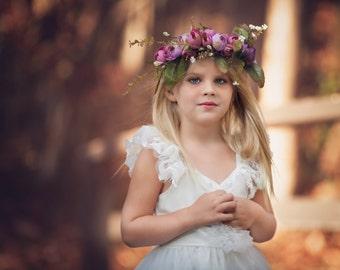 Floral Hair Halo , Boho Floral Hair Wreath, Floral Hair Garland, Flower Hair Wreath, Boho Headband, Halo Headband, Rustic Headband,Purple
