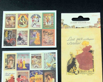16 Mini Vintage-style French France Advertising Poster Sticker Set