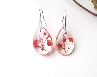 Botanical Resin Earrings  - Real, Pressed Flower, Encased in Resin,  Botanical  Silver Earrings, Baby's breath