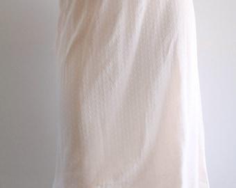 60's Vintage 'Gotham Goldstripe' Pink Pastel Scalloped Lace Trim Nylon Tricot Knit Stretch Pencil Skirt