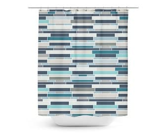 Turquoise And Coral Shower Curtain. Mosaic Shower Curtain  Geometric Bath Teal Grey Navy Blue Mermaid shower curtain Beach bathroom Decor Colorful Fish
