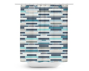 Grey And Turquoise Shower Curtain. Mosaic Shower Curtain  Geometric Bath Teal Grey Navy Blue Mermaid shower curtain Beach bathroom Decor Colorful Fish